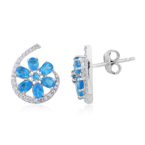 Malgache Neon Apatite and Natural Cambodian Zircon Floral Earrings (with Push Back) in Rhodium Plated Sterling Silver 2.441 Ct.
