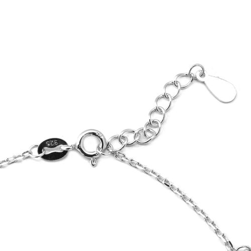 ELANZA AAA Simulated Diamond (Rnd) Adjustable Charm Bracelet (Size 7 with 1 inch Extender) in Rhodium Overlay Sterling Silver