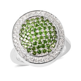 Russian Diopside and Natural Cambodian Zircon Ring with Magnet in Rhodium Overlat Sterling Silver 1.