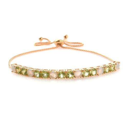 AAA Hebei Peridot (Rnd), AAA Ethiopian Welo Opal Adjustable Bracelet (Size 6.5 to 8.5) in 14K Gold Overlay Sterling Silver 4.000 Ct.