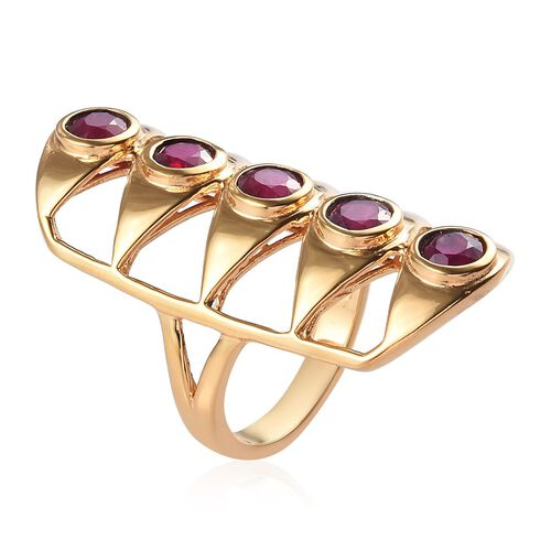 African Ruby Gladiator Ring in 14K Gold Overlay Sterling Silver 3.00 Ct, Silver wt 7.80 Gms