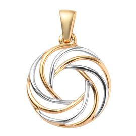 Platinum and Yellow Gold Overlay Sterling Silver Swirl Pendant