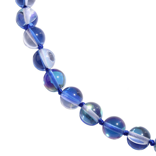 One Time Deal- Simulated Blue Mystic Glass (Rnd 9-11mm) Beads Necklace (Size 20) with Magnetic Lock