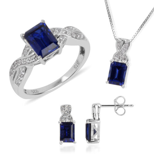 Simulated Blue Sapphire and Simulated White Sapphire Ring, Pendant with Chain and Earrings (with Push Back) in Rhodium Plated Silver 6.50 Gms.