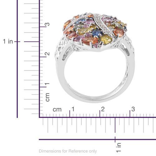 Orange Sapphire (Ovl), Green Sapphire, Yellow Sapphire, Kanchanaburi Blue Sapphire, Pink Sapphire and Multi Gemstone Ring in Platinum Overlay Sterling Silver 6.250 Ct.