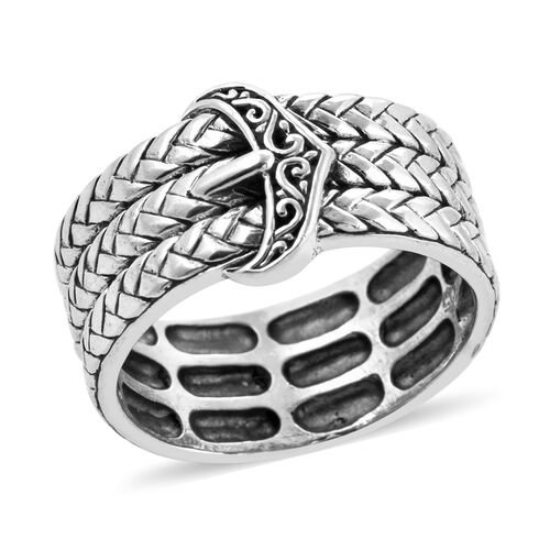 Royal Bali Braided Buckle Band Ring in Sterling Silver
