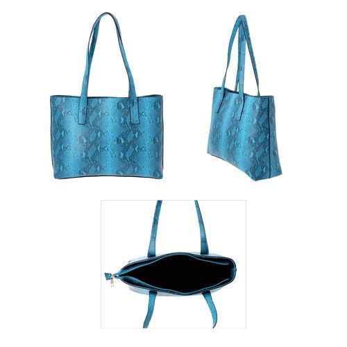 Light Blue Retro Snake Skin Pattern Handbag with Zipper Closure (Size 37x11x28 Cm)