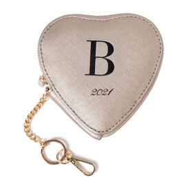100% Genuine Leather B Initial Heart Shape Coin Card / Purse with Key Chain in Gold Colour (Size 12x