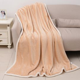 Super Auction-Beige Colour Supersoft Reversible Flannel Sherpa Blanket (150x200 cm)
