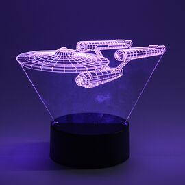 Home Decor - 7 Colour Changing 3D Visual Effect LED Light Space Ship Lamp with USB cable (Size 18x15