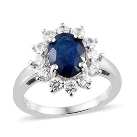 Blue Spinel (Ovl 2.00 Ct.), Natural Cambodian Zircon Sunburst Ring in Platinum Overlay Sterling Silv