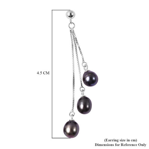 Freshwater Peacock Pearl (Rnd) Dangle Earrings (with Push Back) in Sterling Silver