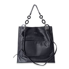 Sencillez 100% Genuine Leather Black Colour Large Tote Bag with Removable Shoulder Strap (Size 42x40