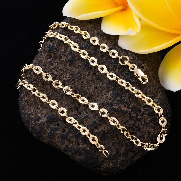 9K Yellow Gold Rolo Necklace (Size 18), Gold wt 4.70 Gms