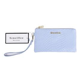 Sencillez 100% Genuine Leather RFID Snake-Skin Embossed Clutch Wallet in Light Blue