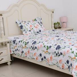 2 Piece Set - Multi Colour Floral Pattern Quilt (Size Double 240x180 Cm), Pillow Case (Size 50x70+5