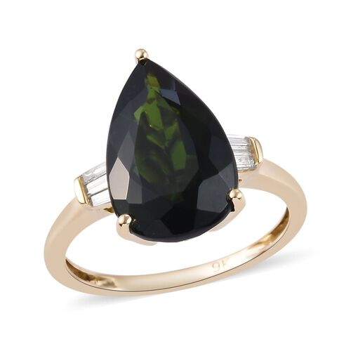 9K Yellow Gold Russian Diopside and Diamond Ring 4.87 Ct.