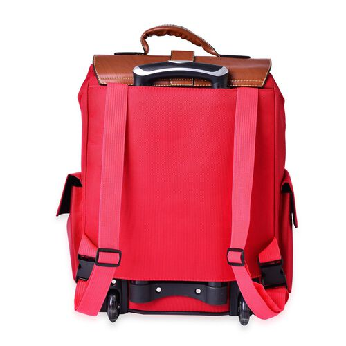 Deluxe Wheeled Red Backpack Cabin Size Luggage (Size 50x36x19 Cm)