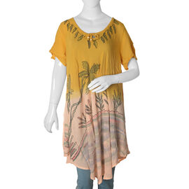 New for Spring- Mustard and Peach Dip dye Tunic Top with Hand Embroidery - One size to fit most