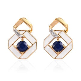 Blue Spinel and Natural Cambodian Zircon Earrings (with Push Back) in 14K Gold Overlay Sterling Silv