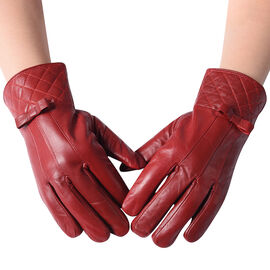 100% Genuine Leather Quilted Pattern Gloves with Bowknot - Solid Red