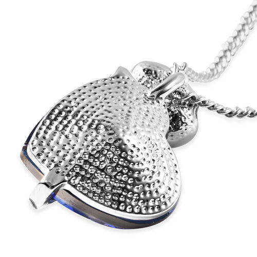 Simulated Tanzanite and White AB Austrian Crystal Heart and Rose Necklace (Size 20 with 2 inch Extender) in Silver Tone