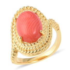 5 Carat Living Coral Solitaire Ring in Gold Plated Sterling Silver 6.13 Grams