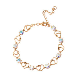 J Francis - Crystal from Swarovski AB Crystal (Rnd) Adjustable Heart Bracelet (Size 7.5 with 2 inch Extender) in 18K Yellow Gold Plated
