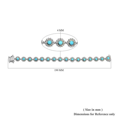 Arizona Sleeping Beauty Turquoise Floral Link Bracelet (Size 7) in Platinum Overlay Sterling Silver wt 11.98 Gms