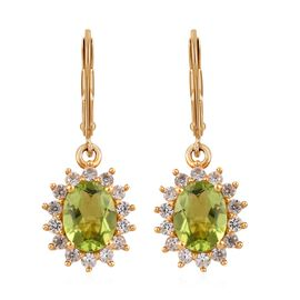 Hebei Peridot (Ovl), Natural Cambodian Zircon Earrings in 14K Gold Overlay Sterling Silver 3.50 Ct.