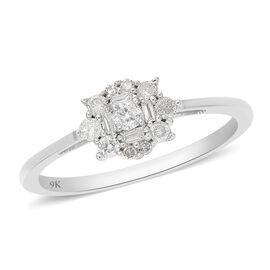 9K White Gold SGL Certified Diamond (I3/G-H) Ring 0.33 Ct.