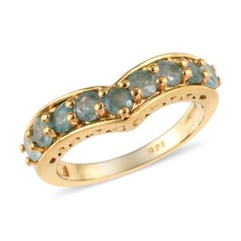 Grandidierite (Rnd) Half Eternity Wishbone Ring in 14K Gold Overlay Sterling Silver 1.00 Ct.