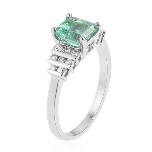 ILIANA  18K White Gold AAA Boyaca Colombian Emerald (Oct), Diamond (SI/G-H) Ring 1.630 Ct.