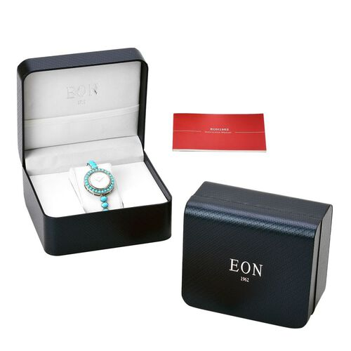 Limited Available - EON 1962 Swiss Movement Arizona Sleeping Beauty Turquoise Sterling Silver Watch with Adjustable Strap (Size 6.5 to 8.5). Total Wt 8.01 Cts