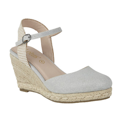 Lotus Silver Shimmer Textile Maira Wedge Shoes (Size 5)