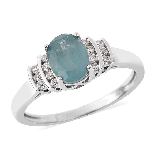 1.50 Ct AA Grandidierite and Zircon Solitaire Design Ring in Rhodium Plated Sterling Silver