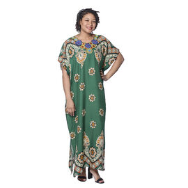 Jovie Green Bohemian Style Printed Long Dress with Embroidered Neckline (138x78cm)