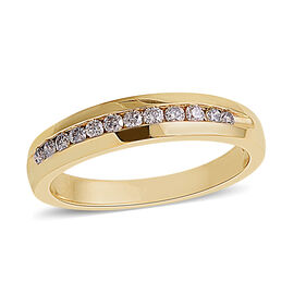 0.25 Ct Diamond Half Eternity Band Ring in 14K Yellow Gold I1 GH
