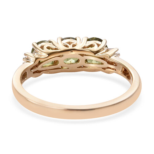New York Close Out Deal 14K Yellow Gold Russian Demantoid Garnet (Ovl), Diamond Ring  1.500  Ct.