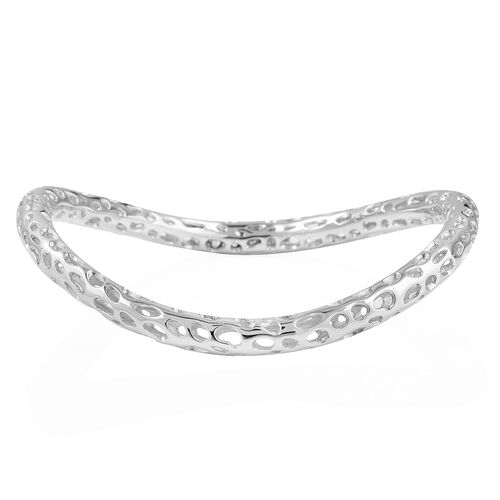RACHEL GALLEY Curved Swirl Bangle in Rhodium Plated Sterling Silver 7.75 Inch