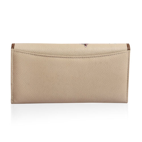 100% Genuine Leather Light Beige, Green and Multi Colour Dog in Garden Pattern RFID Blocker Ladies Wallet (Size 19x10 Cm)
