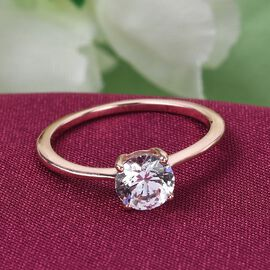 J Francis - Rose Gold Overlay Sterling Silver Solitaire Ring Made with SWAROVSKI ZIRCONIA 1.500 Ct.