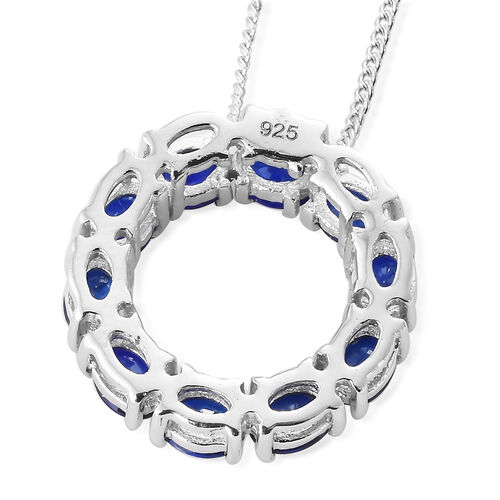 Blue Spinel (Ovl) Pendant With Chain in Platinum Overlay Sterling Silver 1.750 Ct.