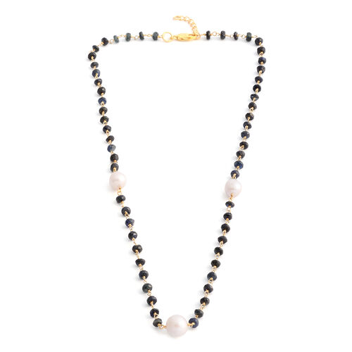 Fresh Water Baroque Pearl and Madagascar Blue Sapphire Beads Necklace (Size 18 with 1 inch Extender)