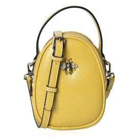 100% Genuine Leather Yellow Colour Cross Body Bag (Size 13x7x13.8 Cm) with Detachable Shoulder Strap
