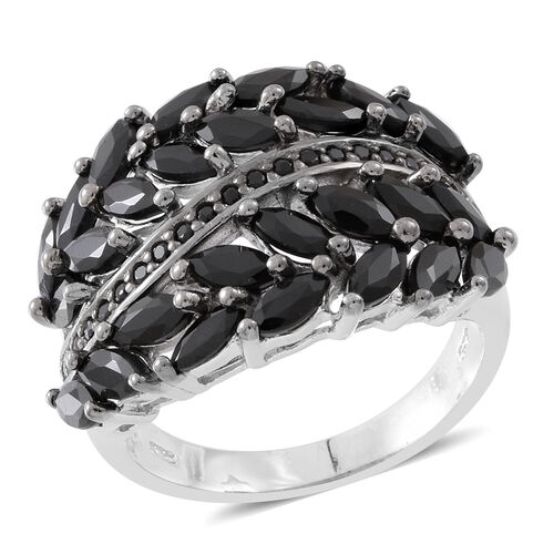 Red Carpet Collection-Boi Ploi Black Spinel (Mrq) Ring in Rhodium Plated Sterling Silver 6.400 Ct.