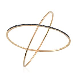 Blue Diamond (Rnd) Criss Cross Bangle (Size 7.5) in 14K Gold Overlay Sterling Silver 0.500 Ct.
