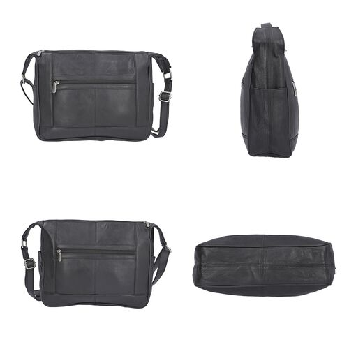 New Age - 100% Genuine Leather Crossbody Bag with Zipped Pocket in Front (Size 29x24x8cm) - Black