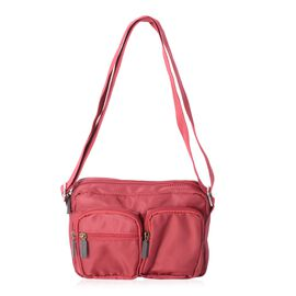Close Out Deal- Water Resistant Multi Pocket Cross Body Bag - ( 34x22x12 Cms) - Red Colour