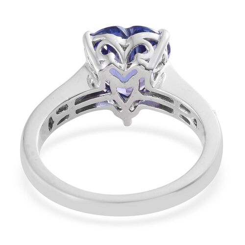 ILIANA 18K White Gold AAA Tanzanite (Hrt 2.90 Ct), Diamond (SI G-H) Heart Ring 3.150 Ct.